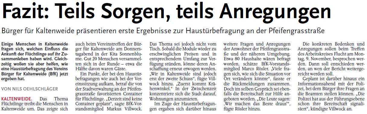 Nordhannoversche Zeitung vom 07.11.2015