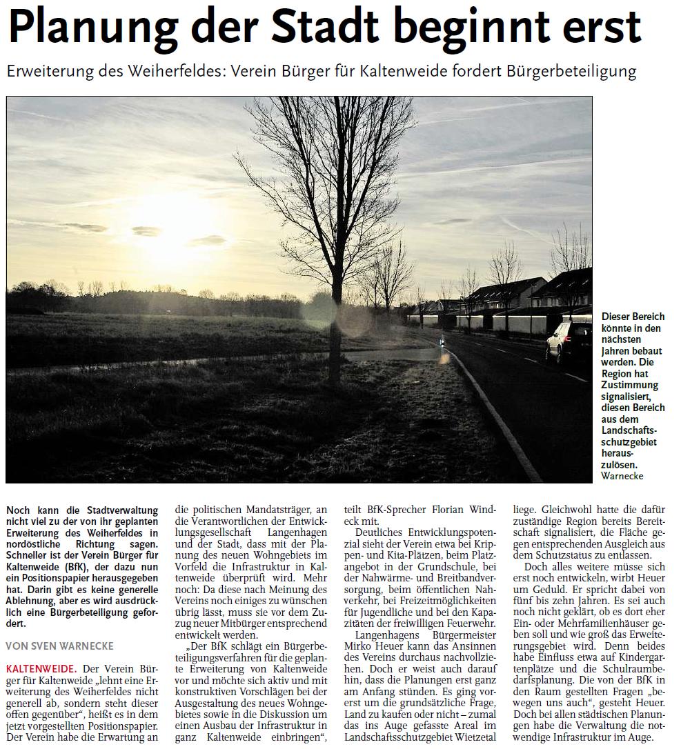 Nordhannoversche Zeitung vom 11.12.2015