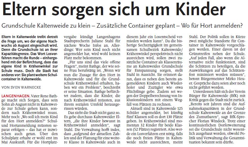 Nordhannoversche Zeitung vom 19.01.2016