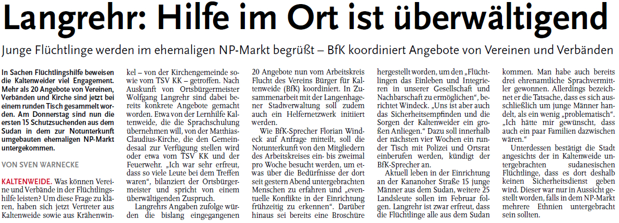 Nordhannoversche Zeitung vom 22.01.2016