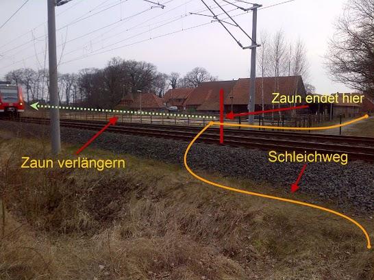 Auf der anderen Seite des Bahnhofs gibt es eine weitere gefährliche Stelle.