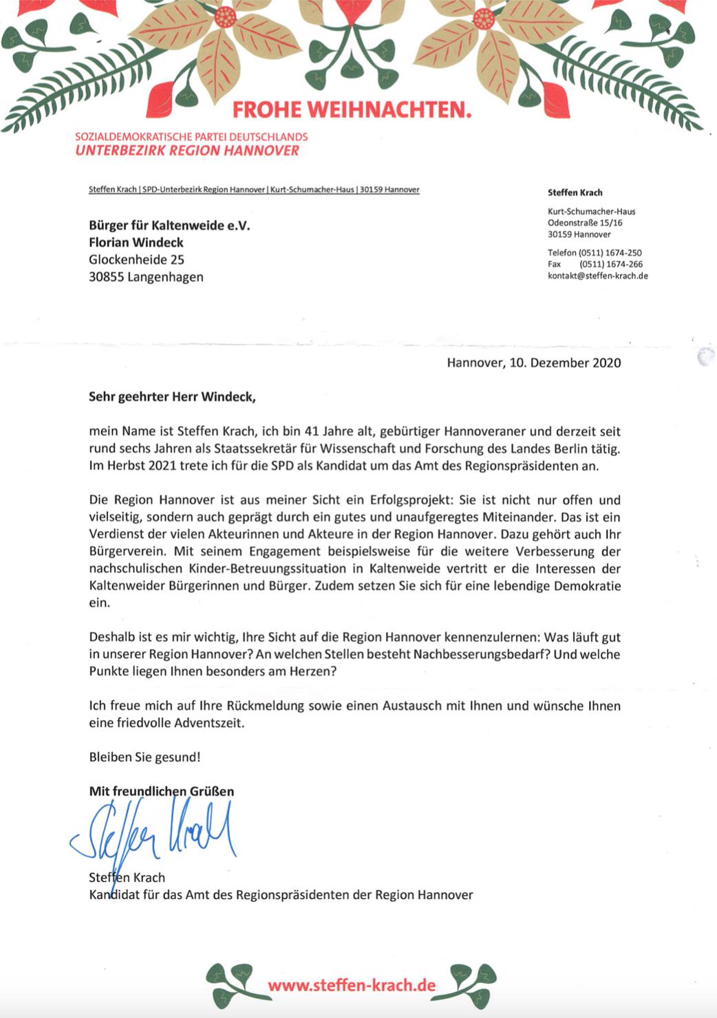 Einladung der SPD zum Dialog mit Steffen Krach vom 15.12.2020